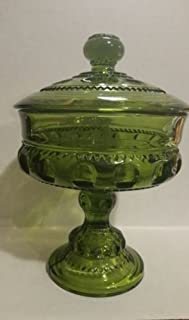 Vintage Indiana Glass Kings Crown Thumbprint Green Glass Pedestal Covered Compote Bowl