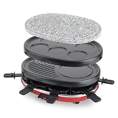 H.Koenig RP412 Raclette-apparaat, 4 in 1, 8 personen, raclette, natuursteengrill, crepe-plaat en grillplaat, met 8 pannetjes, 900 W, zwart/rood