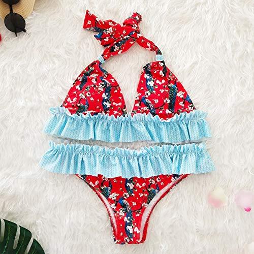 HaiQianXin badpak met bloemenpatroon, bikini-set, tweedelig, voor vrouwen (kleur: Red-Base Peacock, maat: M)