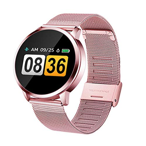 Smartwatch kompatibel mit Q8 V09 Smartwatch, Schlafüberwachung, Anti-Verlust, Schrittzähler, Pulsmesser, Smart-Armband für Sport, Unisex, Erwachsene, Damen, Herren (Rosa)