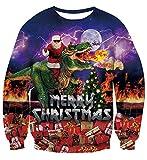 Ugly Christmas Jumper 3D Druck T-Rex Weihnachtsmann