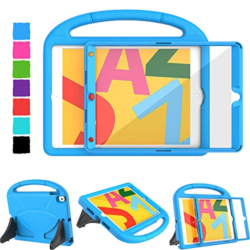 TIRIN Kids Case for iPad 7th Generation, iPad 10.2 2019 Case with Built-in Screen Protector, Light Weight Shockproof Durable Handle Stand Kids Case for New iPad 10.2 Inch 2019 Release - Blue