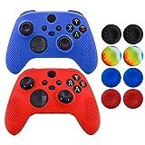 Hikfly Skin für Xbox Series Controller, kompatibel mit Xbox Series X/S Controller-Griffen, Schutzhülle, rutschfeste Nieten, Silikon, 2 Stück mit 8 Daumengriff-Kappen (rot, blau)