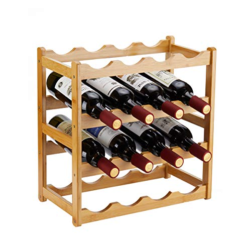 Homeva Bamboo Wine Rack, Sturdy and Durable Wine Storage Cabinet Shelf, Wine Racks Countertop for Pantry - 4 Tiers 16 Bottle Wine Rack