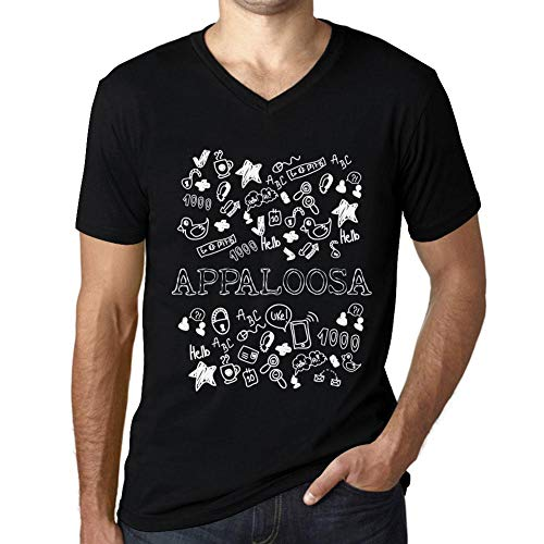 Herren Tee Männer Vintage V-Ausschnitt T-Shirt Doodle Art Appaloosa Noir Schwarz Text Weiß