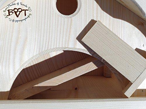 Vogelhaus,groß,mit Ständer,BTV-X-VONI5-LOTUS-LEFA-MS-dbraun002 Großes wetterfestes PREMIUM Vogelhaus mit wasserabweisender LOTUS-BESCHICHTUNG VOGELFUTTERHAUS + Nistkasten 100% KOMBI MIT NISTHILFE für Vögel KOMPLETT mit Ständer wetterfest lasiert, WETTERFEST, Holz Futterhaus für Vögel, MIT FUTTERSCHACHT Futtervorrat, Vogelfutter-Station Farbe braun dunkelbraun behandelt / lasiert schokobraun rustikal klassisch, MIT TIEFEM WETTERSCHUTZ-DACH für trockenes Futter - 6