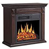 R.W.FLAME 25' Electric Fireplace Mantel Wooden Surround Firebox, Freestanding Corner Fireplace, Home Space Heather, Adjustable Led Flame, Remote Control,750W/1500W, Brown