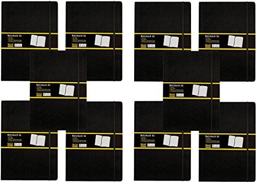 10er Maxi Spar Packung Idena 209280 - Notizbuch DIN A4, 192 Seiten, 80 g/m², kariert, schwarz (DIN A4 | 10 Stück, kariert)
