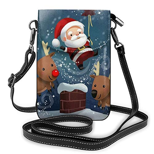 Lightweight Pu Leather Cell Phone Purse,Santa Claus And Reindeer Small Crossbody Bags Shoulder Bag Wallet Pounch Handbag For Women