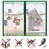 ZHUAN Dibujos Animados Malla De Pantalla De Ventana Magnética,Cortina De Insectos Antimosca Mosca Reforzado Red De Mosquitos Window Netting Verde 180x200cm(71x79inch)