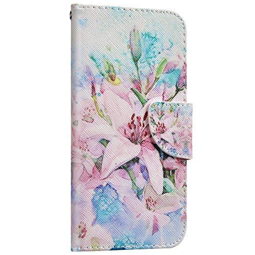 Saceebe Compatible avec Huawei P30 Housse Portefeuille Cuir Coque 3D Motif Coloré Coque Flip Wallet Case Porte-Cartes Support Stand Clapet Etui Housse de Protection,Fleur Rose