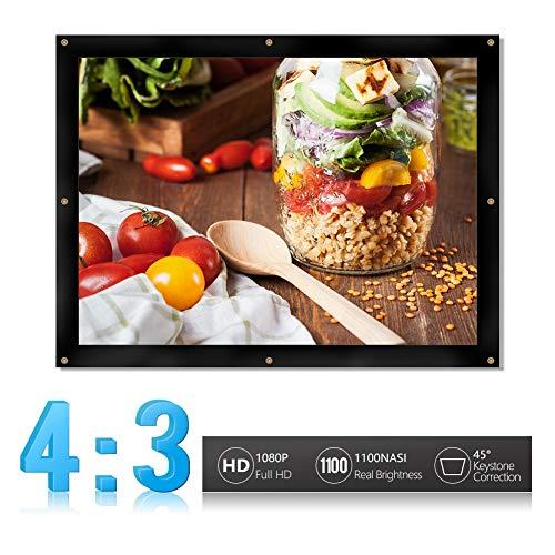 Diyeeni thuisbioscoop beamer canvas, 4:3 scherm 60 inch, opvouwbaar projectiescherm anti crease plaatsbesparend, eenvoudige installatie filmprojectiedoek voor binnen en buiten, 60 inch.