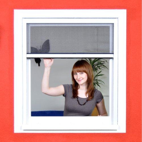 Fliegengitter Rollo für Fenster als PVC-Bausatz mit Fiberglasgewebe Insektenschutz - 80 x 130 cm