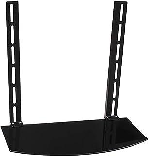 HJJ Los estantes flotantes Vidrio Templado Escuadra De Pared/TV Soporte De Caja, Router, Set Top Box, Mini PC, Accesorios De TV 45 * 25 * 45 Cm Estante de Almacenamiento (Color : Black)