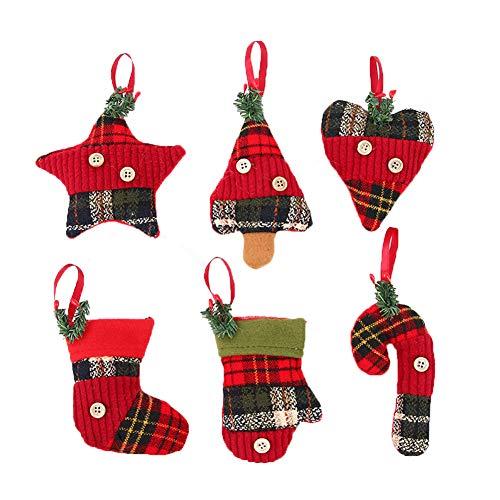 6 Piezas De Ornamentos De Navidad Que Almacena Las Decoraciones Del árbol De Navidad De La Tela Escocesa Medias Del Bastón De Caramelo De La Estrella Del Guante Del Corazón Ornamento Colgante