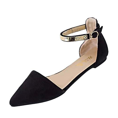 39e671b51f8 Siswong Women Fashion Pointed Toe Flat Shoes Ankle Strap Ballet Pumps  Sandals Size UK 3-