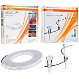 Sylvania Smart+ LED Outdoor Lighting Kit - Includes 1 (73699) 7W Outdoor Smart LED Gardenspt Mini RGB Kit, 1 (73685) 24W LED Indoor/Outdoor 16ft Strip Light - Wet Location Rated and Fully Dimmable