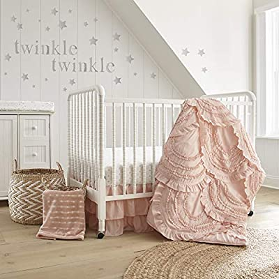 Levtex Baby - Skylar Crib Bed Set - Baby Nursery Set - Blush - Soft Cascading Ruffles - 4 Piece Set Includes Quilt, Fitted Sheet, Wall Decal & Crib Skirt/Dust Ruffle