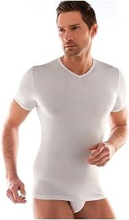 Liabel 3 t-Shirt Corpo Uomo Bianco Caldo Cotone Mezza Manica Scollo a Punta 02828/e53