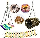 Wonninek 4 pièces hamac pour Animaux de Compagnie Hamster Jouet Suspendu, Maison Suspendue lit Cage Jouets pour Petit Animal Hamster Rat Jouant Jouet