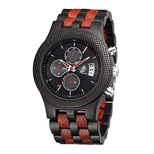 Reloj De Madera para Hombres, CZOKA Reloj de Movimiento de Cuarzo japonés con Pantalla analógica para Hombres con Pulsera de Pterocarpus soyauxii sándalo (Ebony + Red Sandalwood)