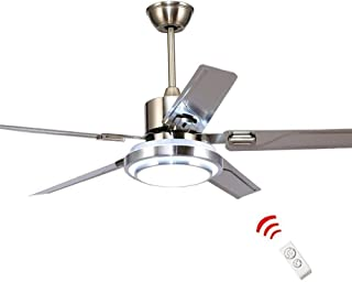 WestmHome 52 Inch LED Indoor Stainless Steel Ceiling Fan with Light and Remote Control /3 Speed/Reversible Motor/Mute Energy Saving Fan/Home Decoration