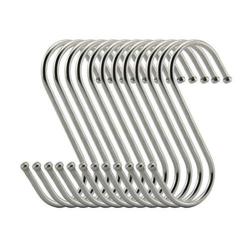 S Hooks 3 Inch S Shaped Utility Hooks, Topick 30 Pack Hanging Hooks Stainless Steel Metal Hanger Heavy Duty Hooks, Storage Holders for Kitchen, Work Shop, Bathroom, Plants, Office, Garden (3in Bold)