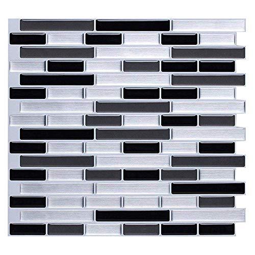 Nanly Peel and Stick Tile Backsplash para cocina/baño, pegar en azulejos Splashback, pegatinas autoadhesivas para azulejos de 28 x 23,5 cm (4 hojas) (rayas blancas y negras)