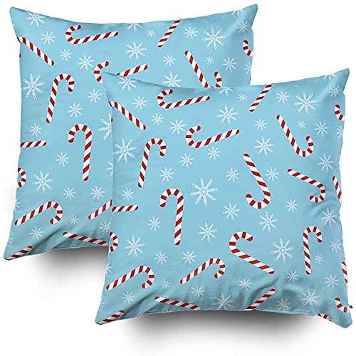 Sonder-Shop kussens, kussenslopen bank kerst blauw snoep wandelstokken sneeuwvlokken wikkelen papier stof afdrukken groet gooien kussen