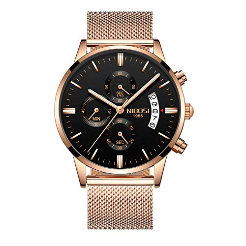 Relojes para hombre con cronógrafo, reloj de cuarzo analógico, con fecha de lujo, deportivo, de piel, color marrón