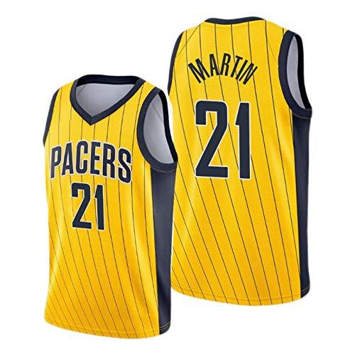Kelan Martin - Camiseta de baloncesto (2021 New Season Pacers # 21, color amarillo, camiseta de baloncesto retro transpirable (S-2XL) L