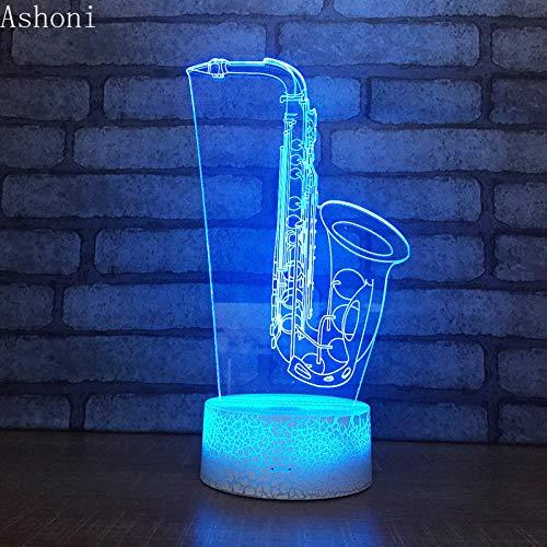 yuandp Saxofoon 3D tafellamp Note USB LED nachtlampje hoofddecoratie 7 kleuren veranderende tafellamp voor kinderen