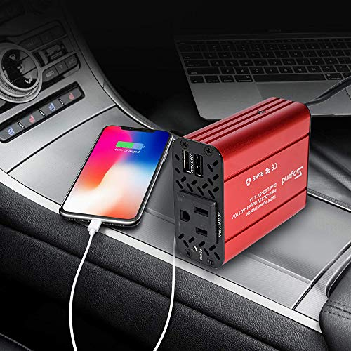 150W Car Power Inverter - DC 12V to 110V AC Converter 4.2A Dual USB Charging Ports Car Charger Adapter Modified Sine Wave Converter for Car Cigarette Lighter with AC Outlet for Car