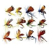 FUYU 12 Unids/Set Insectos Moscas Señuelos de Pesca con Mosca Cebo Gancho de Acero de Alto Carbono Aparejos de Pescado con Gancho de manivela súper Afilado Decoy, 12 Piezas