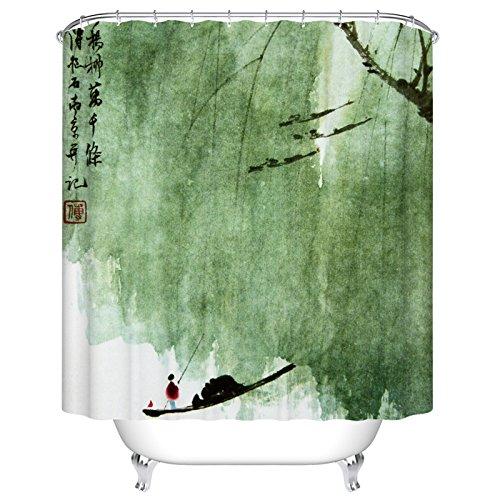 PEIWENIN Rideau de Douche Salle de Bain en Polyester Rideaux de moisissure imperméable à l'eau Couvertures épaisses et épaisses Rideaux d'eau Chaude Peinture,Largeur:180*Haut:180cm,D