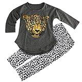 ggudd Niña Leopardo Impreso Manga Larga Tops y Polainas Pantalones Conjuntos de Trajes(Gris,6-7 años)