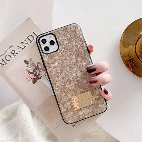 iPhone 11 Pro Max case,Classic Monogram Pattern Cellphone case,Luxury Ultra-Thin Leather Metal nameplate TPU Frame case Cover for Apple iPhone 11 Pro Max 6.5'2019,Khaki