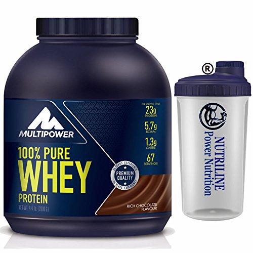 MULTIPOWER Proteine 100% Pure Whey Proteine 2 Kg (2000)+ Shaker Nutriline GUSTO CIOCCOLATO