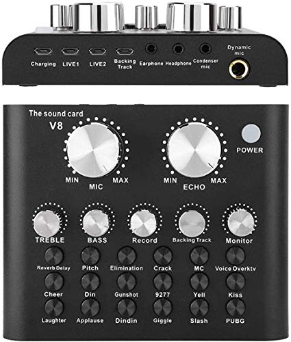 REMALL Bluetooth Mini Sound Mixer Board, Portable Audio Mixer for Live Streaming, Voice Changer Sound Card with Sound Effect for Singing Music Recording Broadcast on Mobile Phone Computer Laptop