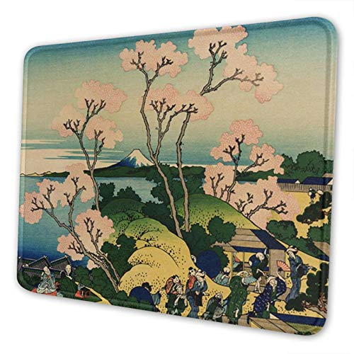 Hokusai Japan Ink Cherry Blossom Mount Fuji Gaming Mouse Pad with Stitched Edges Textured Mouse Mat with Non-Slip Rubber Base for Office and Home 10.2×8.3 inch
