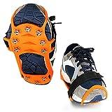 knowledgi Tacos de tracción antideslizantes (10 dientes) para caminar sobre la nieve y el hielo, tacos de tracción para zapatos y botas, agarre para crampones, caminar, correr