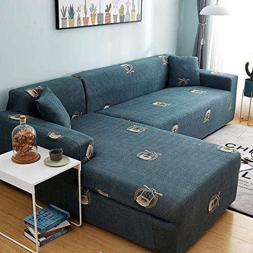 Cubierta Forros para Sofas Anti Arañazos Protector Fundas de sofá en Forma de L con Estampado de celosía Cuadrada de 2 y 4 plazas para Sala de Estar, elástica Antipolvo para Esquina Q