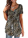 a.Jesdani Leopard Print Tops for Women V Neck Sexy Womens Tops Plus Size Henley Shirts for Women XL