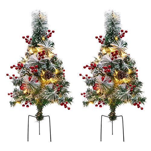 Best Choice Products Set of 2 24.5in Outdoor Pre-Lit Snow Flocked Artificial Pathway Christmas Trees w/ 70 Tips, LED Lights, Red Berries, Frosted Pine Cones, Red Ornaments