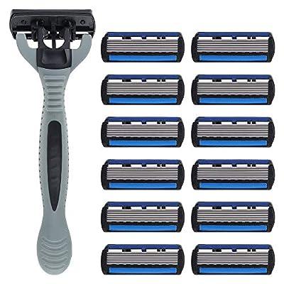 Manual Beard Shaver Razor Blades for Men, 1 Razor Holder with 12 Refill Blades