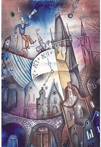 YYLPLLE Puzzles Abstrakte Uhr Puzzles Picasso Farbmalerei Erwachsene 1000 Stück Kunst Holzpuzzle Kinder Kinder Jugendliche 50X75Cm