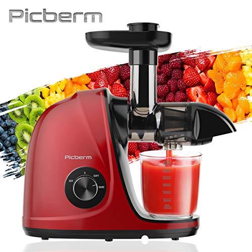 Extracteur de Jus,Picberm Extracteur à Jus de Fruits et Légumes avec 2 Vitesses,Slow Jucier sans BPA avec Moteur...