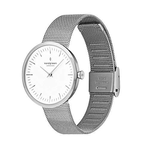 Nordgreen Infinity skandinavische Damenuhr in Silber mit weißem Ziffernblatt und austauschbarem 32mm Mesh Armband Silber 10052