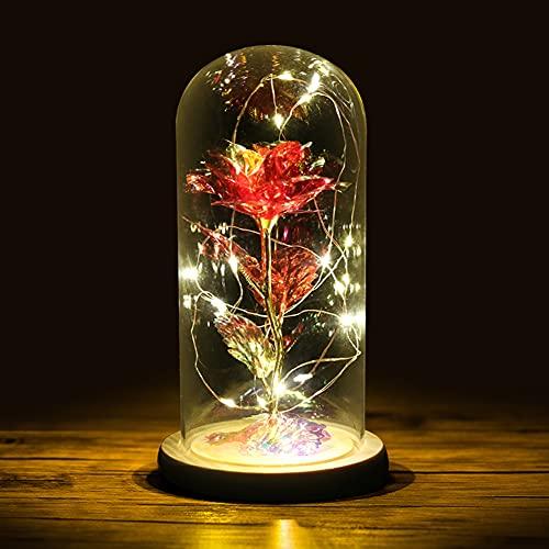 VegKey Rosa en cristal con 20 tiras LED de La Bella y la Bestia en rosa de cristal, lámpara con base de madera, para San Valentín, día de la madre, Navidad o cumpleaños