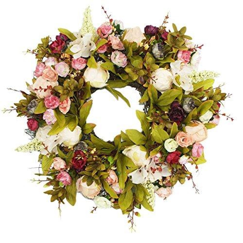 Imaly Decor porta ghirlanda teste di rosa di seta rosa fiore ghirlanda 39,9cm Best Seller–fatto a mano corona per esterni, in autunno, inverno, primavera, estate e